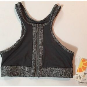 C&C SPORT High Neck Sports Bra Mesh Gray Sz XS NWT